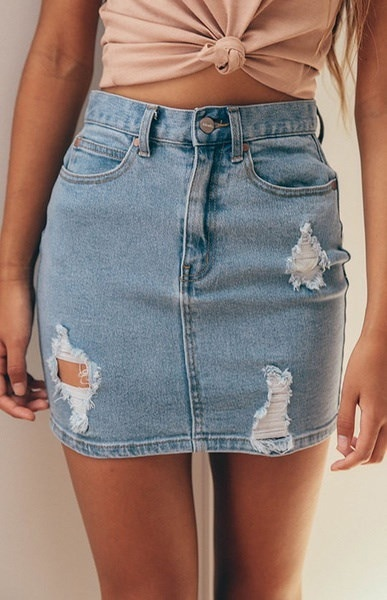 Womens Ripped Distressed Denim Stonewashedミニショートスカートポケットボタンスカート