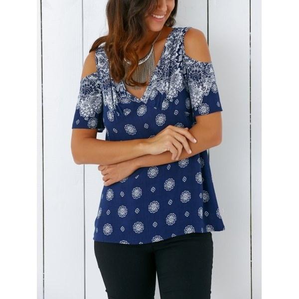 新しい女性のファッションコールドショルダーカジュアルプラスサイズ半袖プリントシャツ