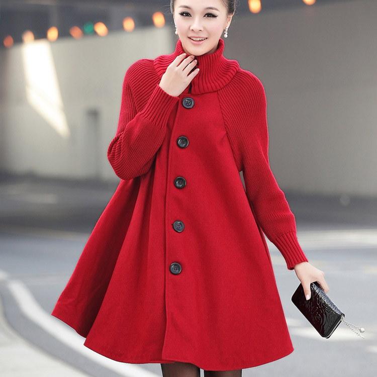 アウター コート Aライン ニット リブ 体型カバー ゆったり ハイネック 冬 秋 膝丈 暖かい ロングコート 新作 大きいサイズ対応