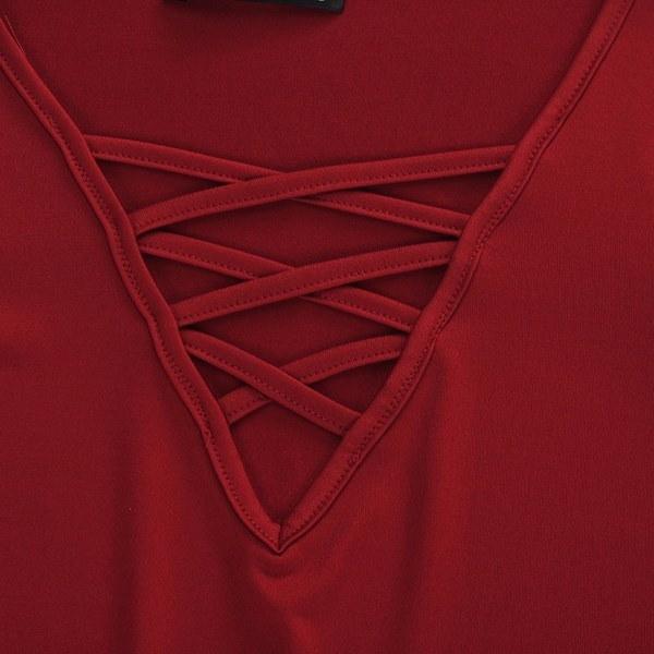 プラスS-5XLフェムスロングフレアスリーブレースアップラウトカジュアルブラウスシャツ