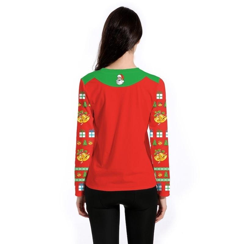 女性のクリスマスのプルオーバーTシャツサンタクロースのプリント長袖のTシャツの女性のクリスマスコスチュームUgl