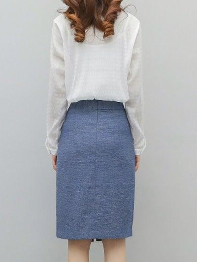 気質よい長袖シフォンシャツ+蝶々結び飾りスリットスカートOL通勤セットアップ