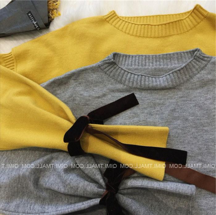 レディース ニット セーター トップス アウター リボン 長袖 ファッション
