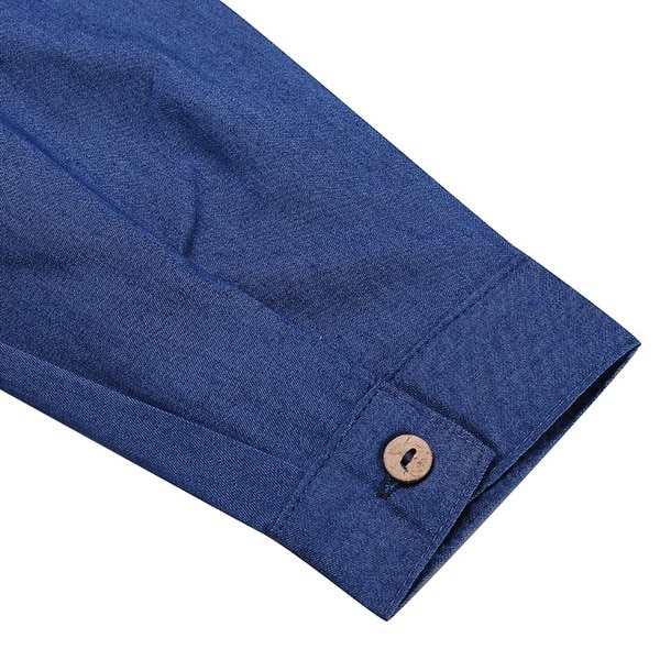 女性のオーバーサイズデニムジーンズボタンダウンロングスリーブトップブラウスミニシャツドレス