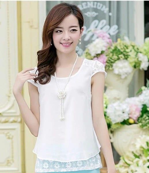 Women Short Sleeve Lace Chiffon T-shirt Casual Tops Pullover Shirt Mini Shirt