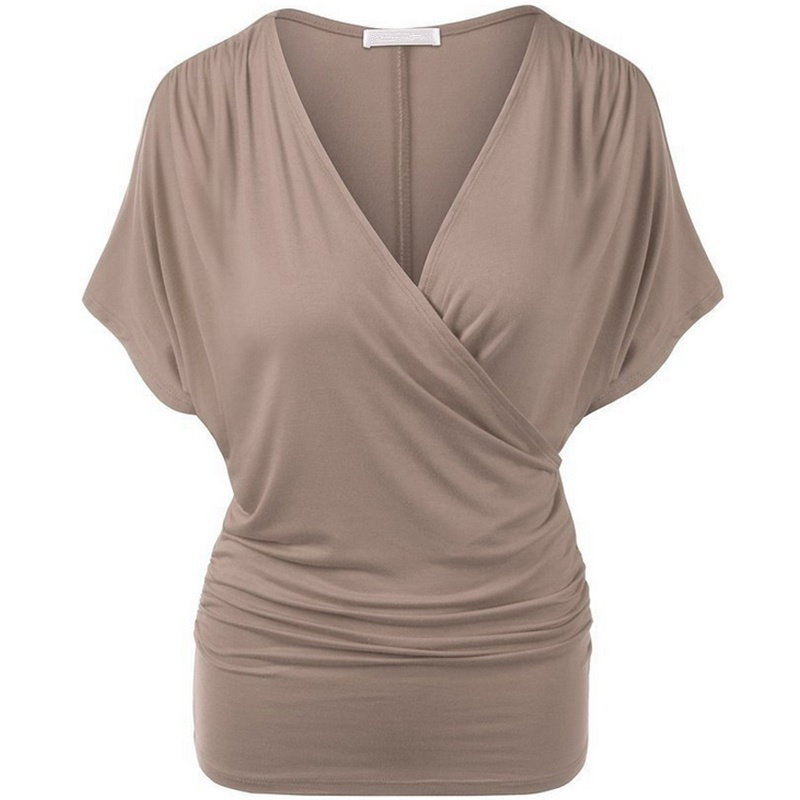 Summer Sexy woman casual V-neck bat solid color short-sleeved T-shirt 11 color 5 size
