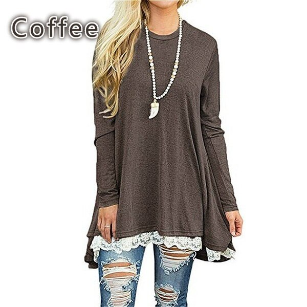 Fashion Women Autumn Lace Patchwork Casual Top Ladies Winter Solid Long-sleeved Tunic Dress for Legg