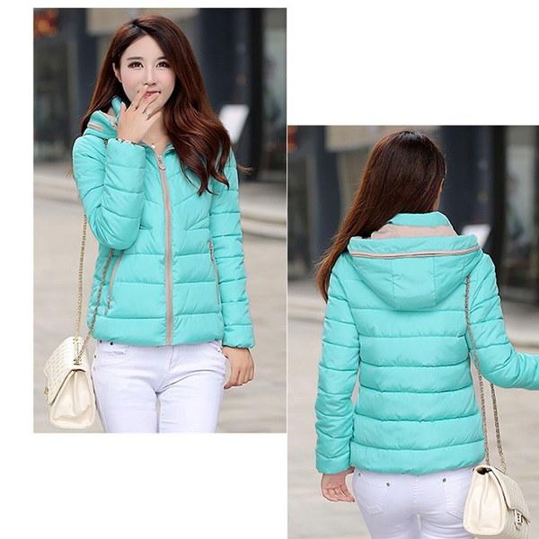 ファッションレディースジッパーショートコートフード付きダウンジャケット暖かい冬パーカー