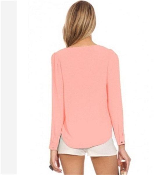ファッションヨーロッパスタイルのセクシーなVネックジッパー女性のシャツカジュアルなシフォンロングスリーブブラウストップス