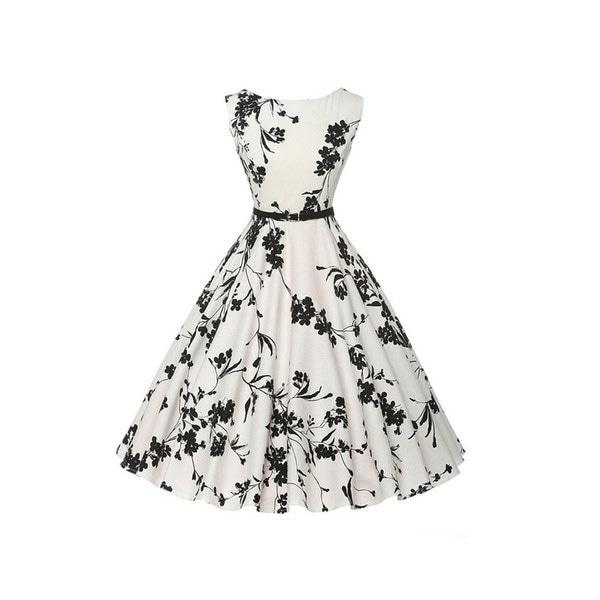 2017Tangoal®Retro Hepburn Wind 50s閉じるウエストディスプレイ薄いビッグスイングドレス(ベルト付き)女性用服