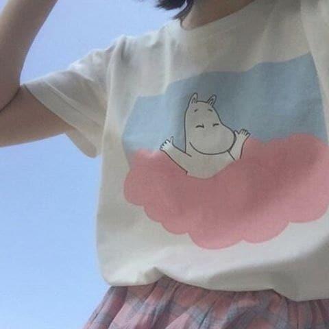 女性女の子ムーミンかわいい美的TシャツTumblrファッションオーバーサイズホワイトティー