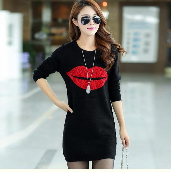 秋と冬ファッションレディースTシャツとカシミアセーターレッドリップスティックパッケージヒップスカートドレス
