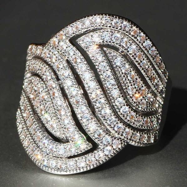 宝石925シルバー豪華なナチュラルホワイトサファイア結婚式誕生石の花嫁の花の婚約者エル