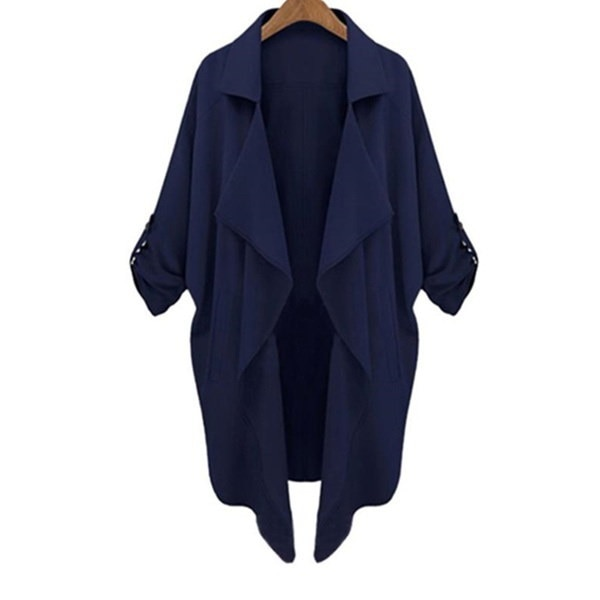 4 Colors Female Lapel Long Sleeve Cardigan Outwear Women Loose Pockets Irregular OL Jacket