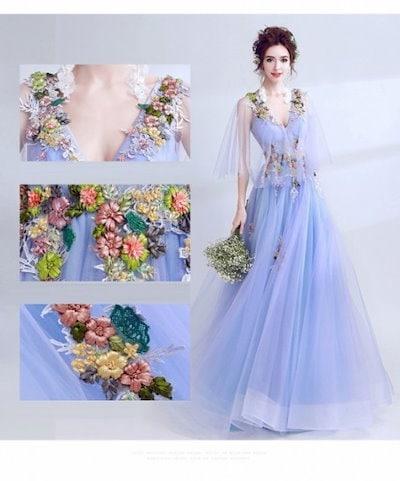 ウェディングドレス マキシワンピース お揃いドレス ブライズメイドドレス セクシー イブニングドレス ブライダル 花柄 バックレスドレス 20代 30代 40代 新作