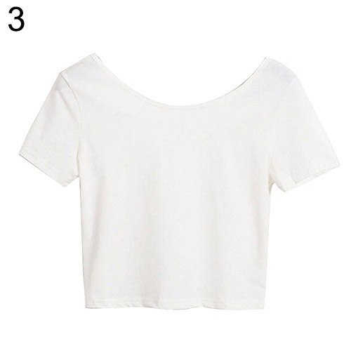 2016年新ファッション女性スクープネックトリム半袖ベアミドリフカジュアルブラウスTシャツ