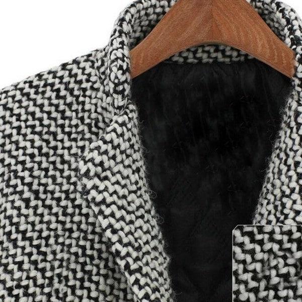 オーバーサイズ高品質秋冬女性トレンチコートハウンドトゥースロングオーバーコートラペルジャケットThicke