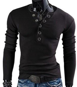 秋と冬の新人のTシャツ大きなVネックの環状ポッパーサンディングスリムな長袖
