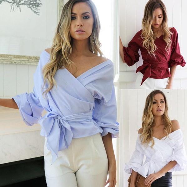 2017夏の女性のシャツセクシーなストラップレスシャツVネックカジュアルなトップスファッションTシャツレディートップWh