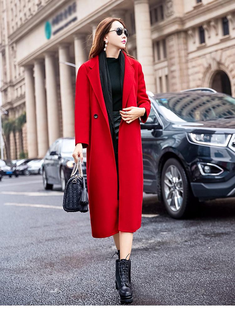 [55555SHOP]ラシャコート スリム Vネック 防寒保暖 厚手 無地 ダブルブレスト ファッション イギリススタイル