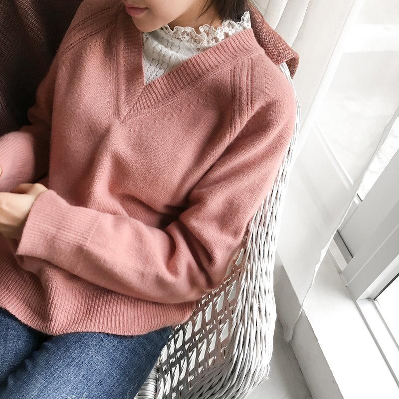 [CHERRYKOKO]カシミヤウールブレンドVネックニット♥春コーデ ピンクカラー[2018S/S新作][送料無料]✯韓国ファッション✯C712MSKN62