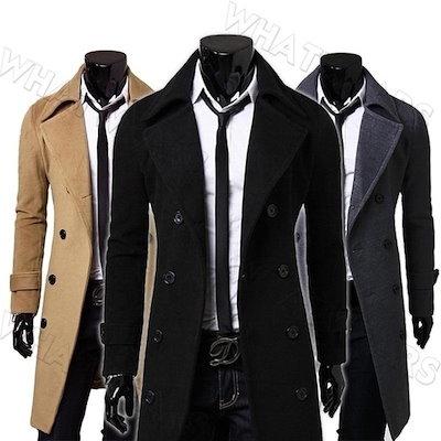 High quality Hommes Mode Manteau Blouson Pardessus Feutre Col roulé Long Boutonnage NM2000251