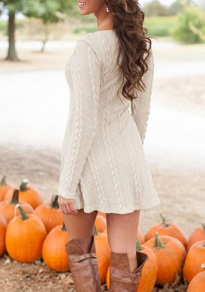 女性の夏の秋のドレスニットドレスロングスリーブ女性のセータードレスセーターとプルオーバーWome