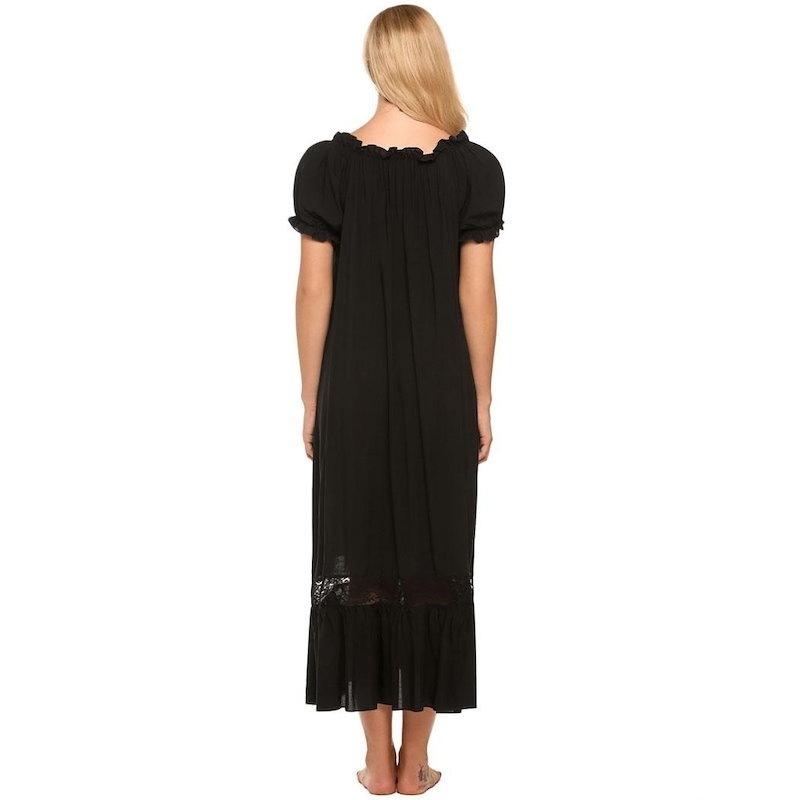 女性のヴィンテージスタイルオフショルダー半袖ラフルドナイトウエディングラウンジドレス