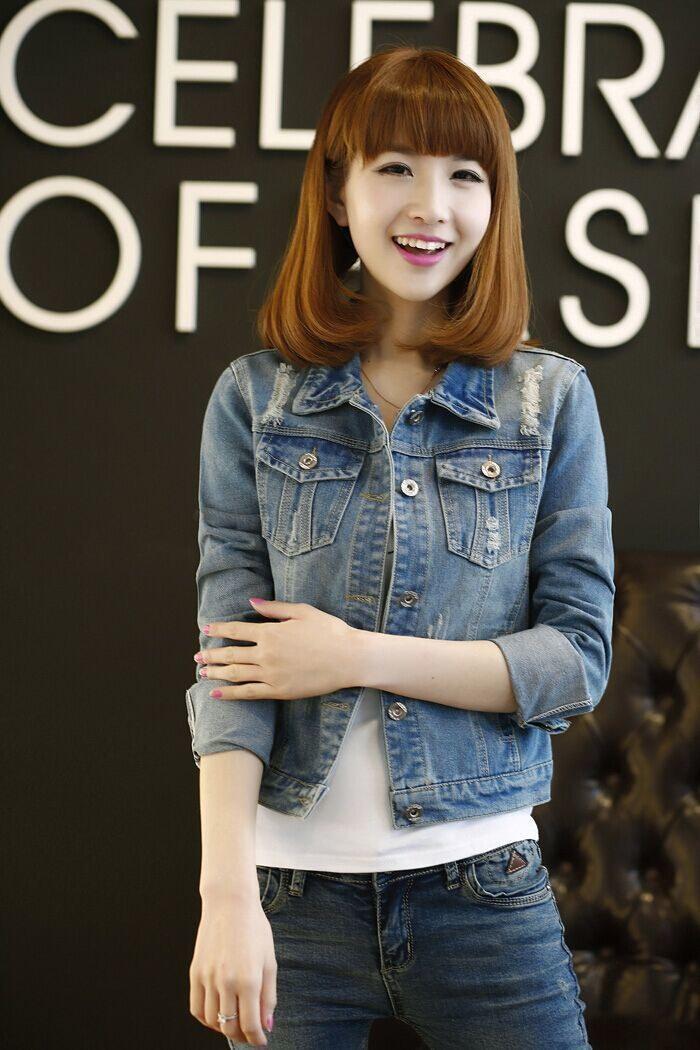 2017年夏の女性のブルゾンファッション特大の女性のデニムジャケットスリムフェスデアンジャンファムマンシュはLongueクール女性のジーンズジャケット
