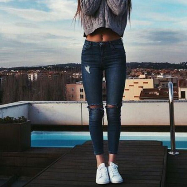 High Waist Jeans Women Skinny Pencil Pants Denim Ripped Boyfriend Jeans with Holes for Woman