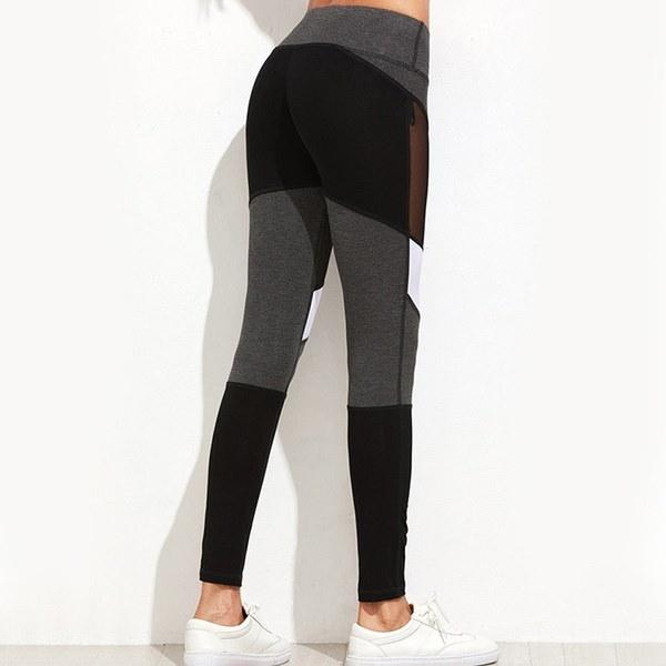 女性メッシュスプリットワークアウトスポーツジムヨガレギンスランニングフィットネスズボンRAD