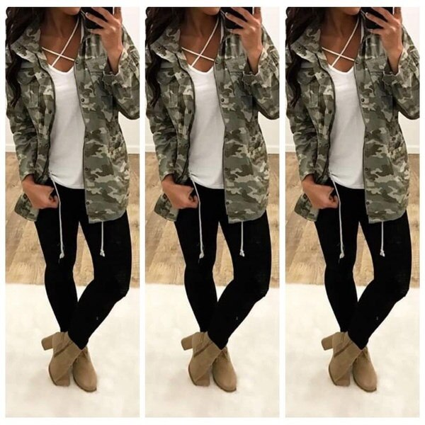 Women s Fashion Camouflage Long Sleeve Coat Causal Army Green Jackets