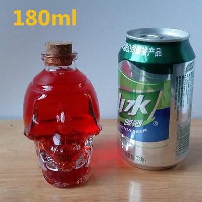 ガラススカルボトルクリエイティブクリスタルスカルウォッカ/ワインボトル、180ML / 350ML