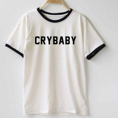 クライベイビークォートTシャツメラニーマルティネスファッション女性Tシャツレディーストップのカジュアルなコットンファニーシャツ