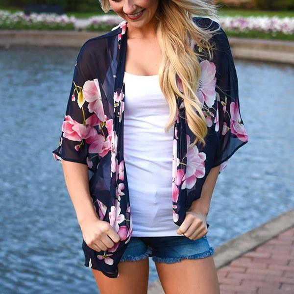 半袖グレーカジュアルコートトップルーズカーディガン花女性シフォン着物シャツ
