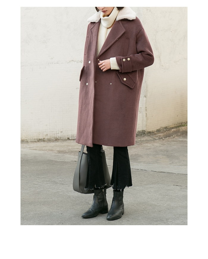 Art retro double-breasted coat with fur collar was loose long-sleeved long-sleeved coat women winter Korean knees