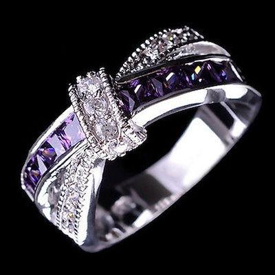 女性のファッションダイヤモンドちょう結びリングジュエリーステンレス鋼メンズとレディースファッションカップルリング
