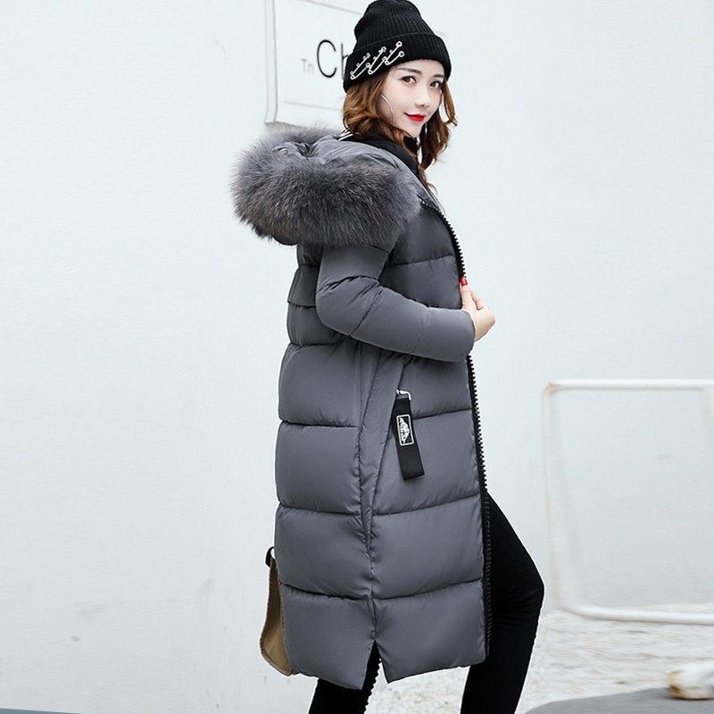女性ロングウォームコートフォックスファーパーカーパーカー女性はダウンジャケットダウンコットン服プラスサイズ