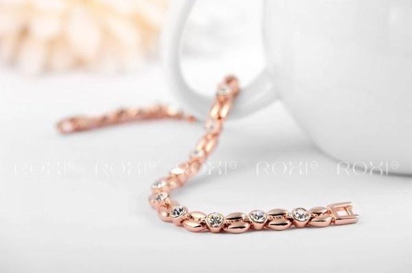 ROXIファッション18Kゴールドメッキブレスレットローズゴールドグレインチェコダイヤモンドブレスレット