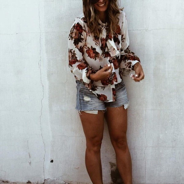 NEWファッション女性夏ルーズトップロングスリーブブラウスレディースカジュアルトップスTシャツ
