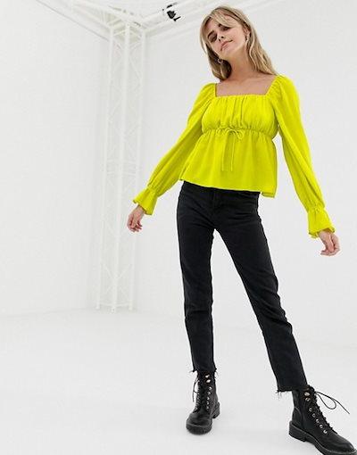 エイソス レディース シャツ トップス ASOS DESIGN long sleeve square neck blouse in neon
