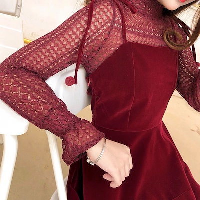 赤 フレアリゾートワンピース ミニ丈 レース 肌見せ セクシー ハイウエスト ハイネック バックコンシャス キャンディスリーブ パーティードレス 結婚式ドレス 結婚式二次会 お呼ばれ