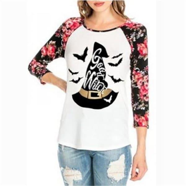 ハロウィーンウィッチーズハットプリントフローラルスプライシングTシャツ
