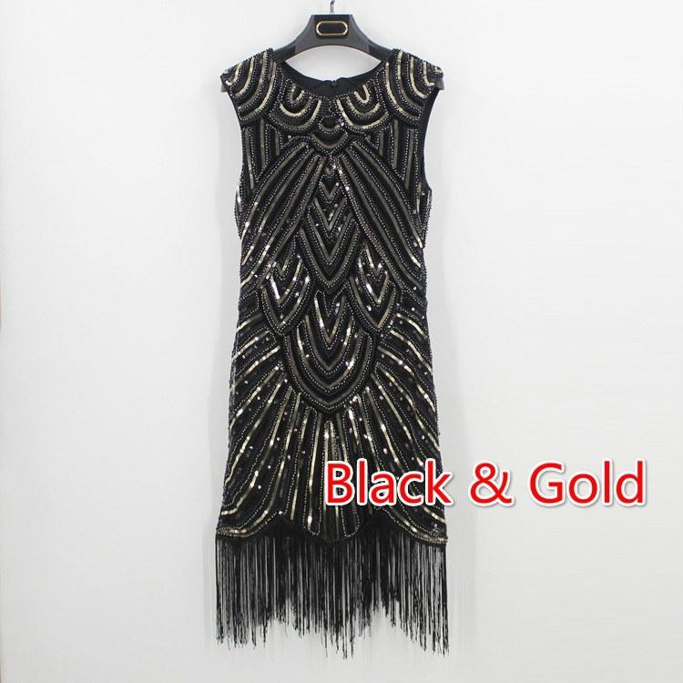 1920年代の装飾されたギャツビー・アール・デコ・スパンコール・フラッパー・ドレス