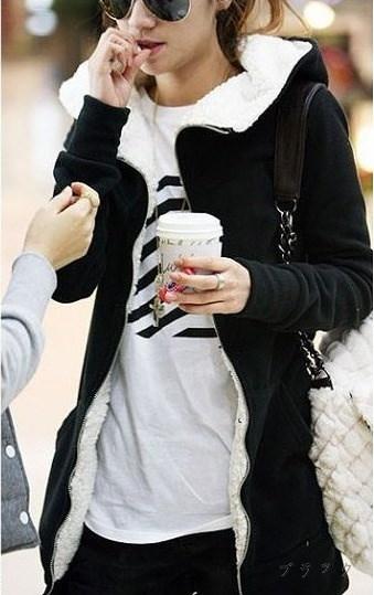 レディース  トップス パーカー アウター ジップアップ フード付きパーカー 長袖 裏起毛 暖かい カジュアル 可愛い サイドポケット 定番 マストアイテム 裾長め 大きいサイズあり ビッグ BIG ブラック