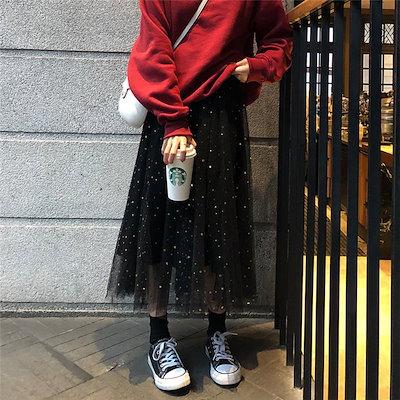 メッシュ スパンコール ロングスカート フレア ウエストゴムfsk0369