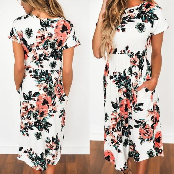 ファッション夏の半袖花プリントボヘミアビーチミディドレス(サイズ:L、カラー:ブラック)