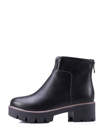 Solid Color Slugged Bottom Thick Heel Zip Boots For Women