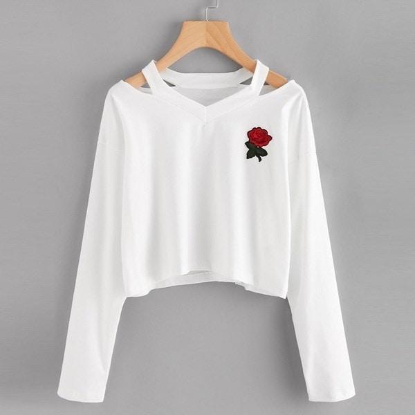 ファッションレディースロングスリーブスエットシャツは、プリント原因のトップスブラウスをローズ