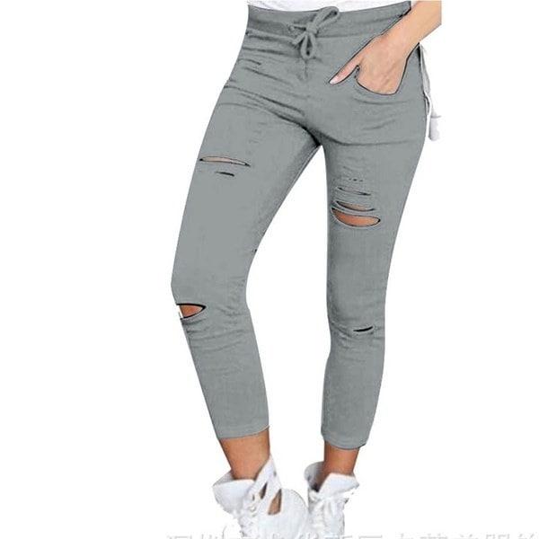 女性のズボンホールレギンスリップスーツスリムストレッチパンツアーミーグリーンタイツパンツ